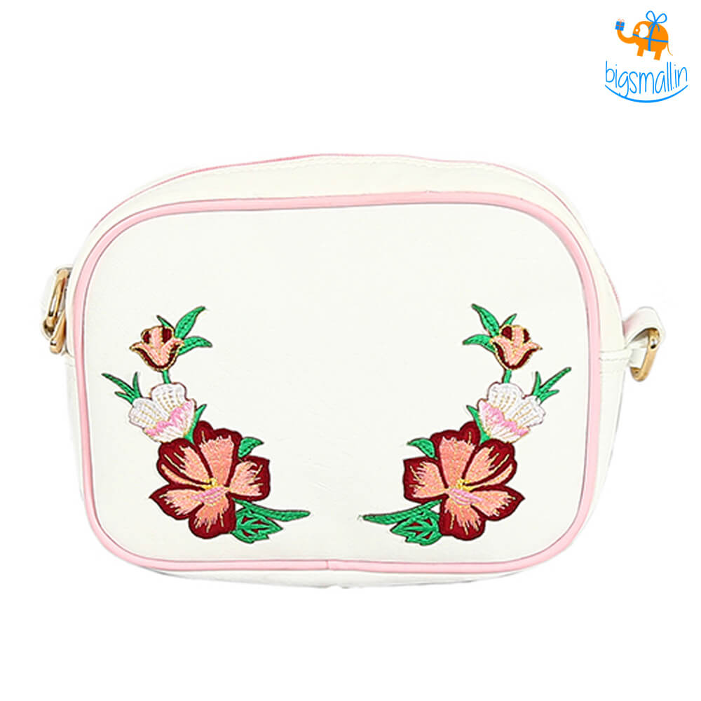 Floral White Rectangular Sling Bag