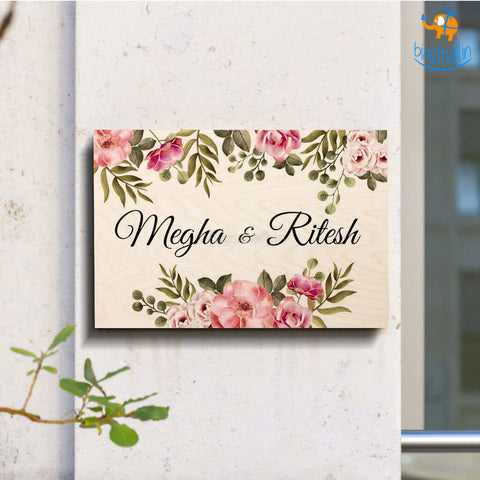 Personalized Flower Theme Name Plate | COD not available - bigsmall.in