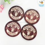 Manchester United Wooden Coasters - Set of 4 - bigsmall.in