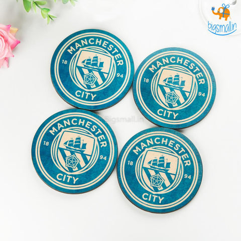Manchester City Wooden Coasters - Set of 4 - bigsmall.in