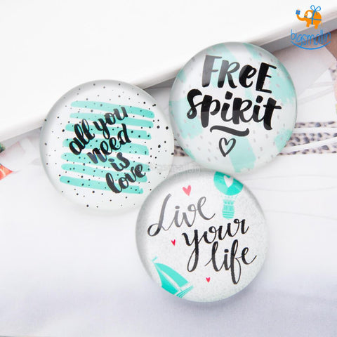 Free And Independent Crystal Glass Fridge Magnets- Set of 3