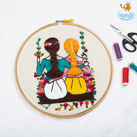 Handmade Friends On A Swing Embroidery Hoop Art