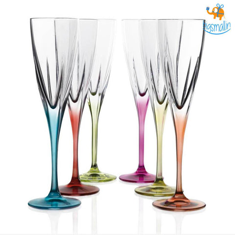Elegante' Crystal Tint Champagne Flutes - Set of 6 - bigsmall.in