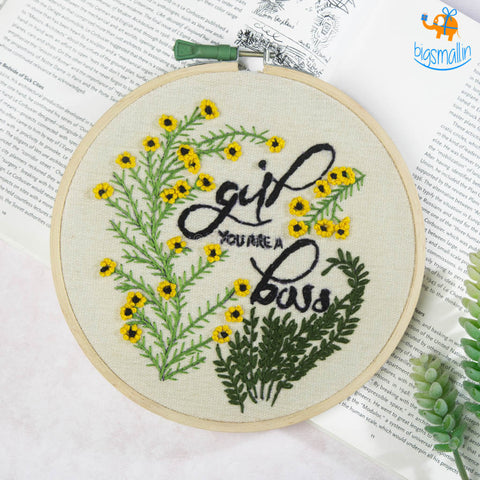 Handmade Girl Boss Embroidery Hoop Art