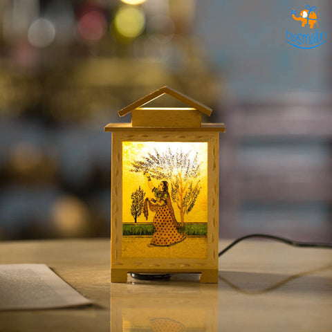 Glass Painted Wooden Lamp