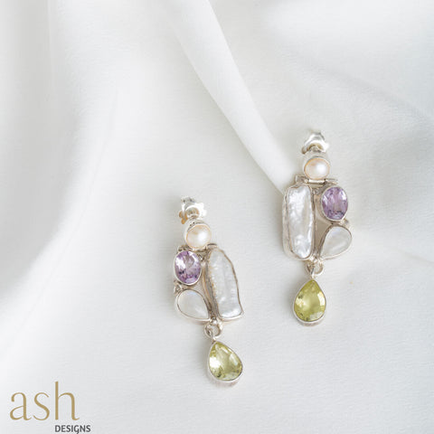 Hana Gemstone and Pearl Earrings