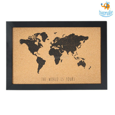 World Map Corkboard With Frame