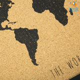 World Map Corkboard With Frame - bigsmall.in