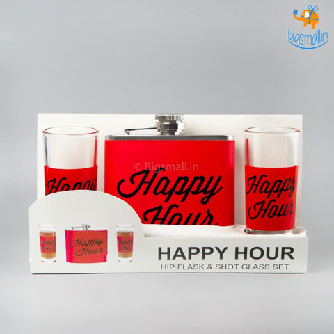 Happy Hour Flask and Shot Glasses Set