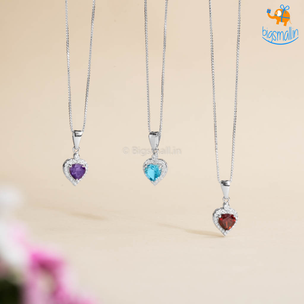 Heart Semi-Precious Pendant With Chain