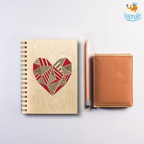 Heart Laser Cut Wooden Diary - bigsmall.in