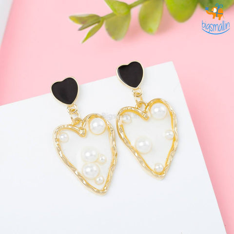 Heart Gold & Pearl Earrings - bigsmall.in