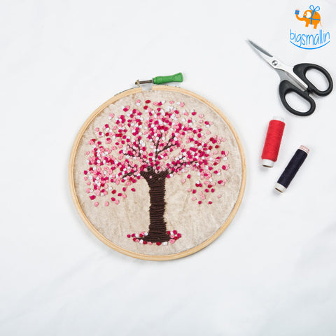 Handmade Cherry Blossom Embroidery Hoop Art