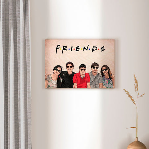 Personalized Friends Caricature Wooden Portrait | COD Not Available