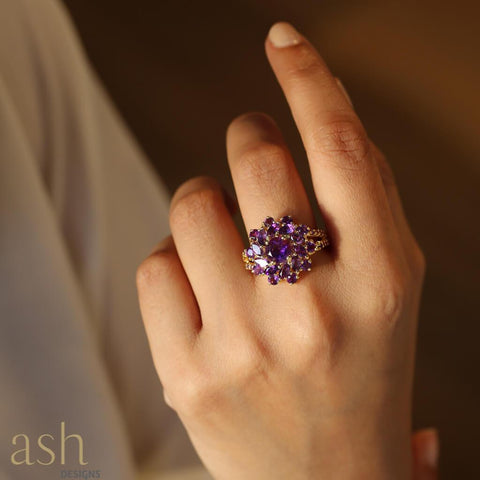 Daphne Amethyst Cocktail Ring - bigsmall.in