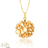 Starburst Halo Citrine Gemstone Pendant With Chain
