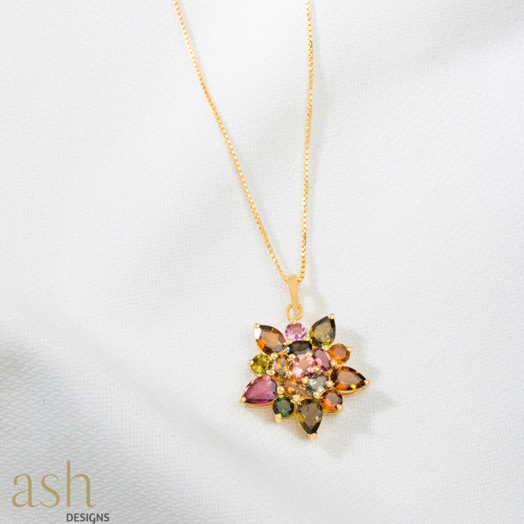 Dahlia Gemstone Pendant With Chain