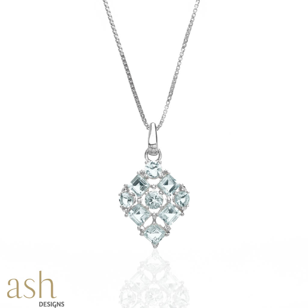 Aerin Aquamarine Pendant With Silver Chain