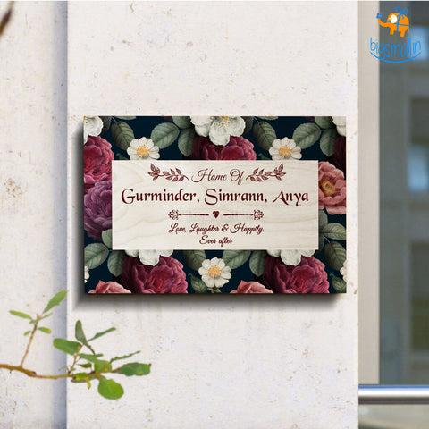 Personalized Floral Frame Name Plate | COD not available