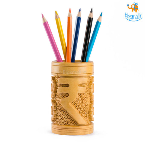 Wooden Rupee Symbol Pen Stand