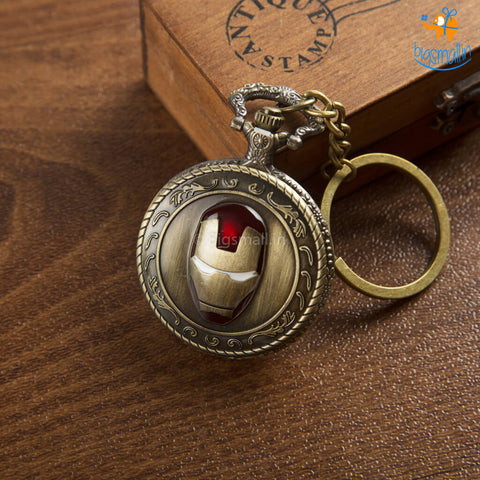 Iron Man Pocket Watch Keychain