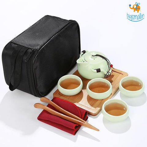 Portable Japanese Tea Set With Wooden Tray