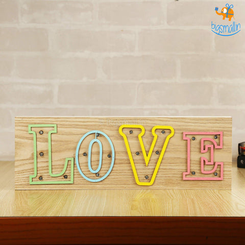 Wooden LED Love Lamp