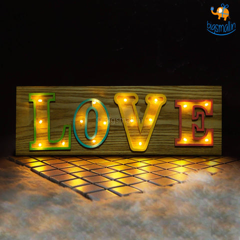 Wooden LED Love Lamp - bigsmall.in