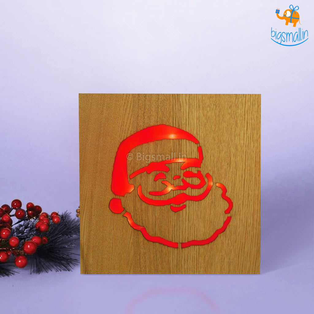 Wooden Santa Claus Lamp