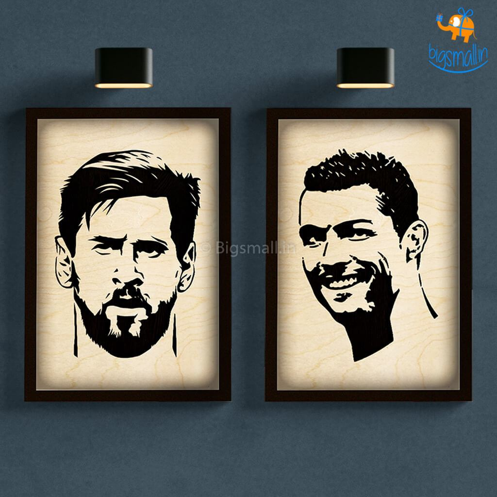 Footballer Engraved Wooden Frame (19 x 13 inches) - bigsmall.in
