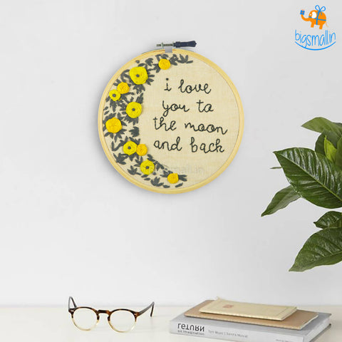 Love You To The Moon Embroidery Hoop Wall Art