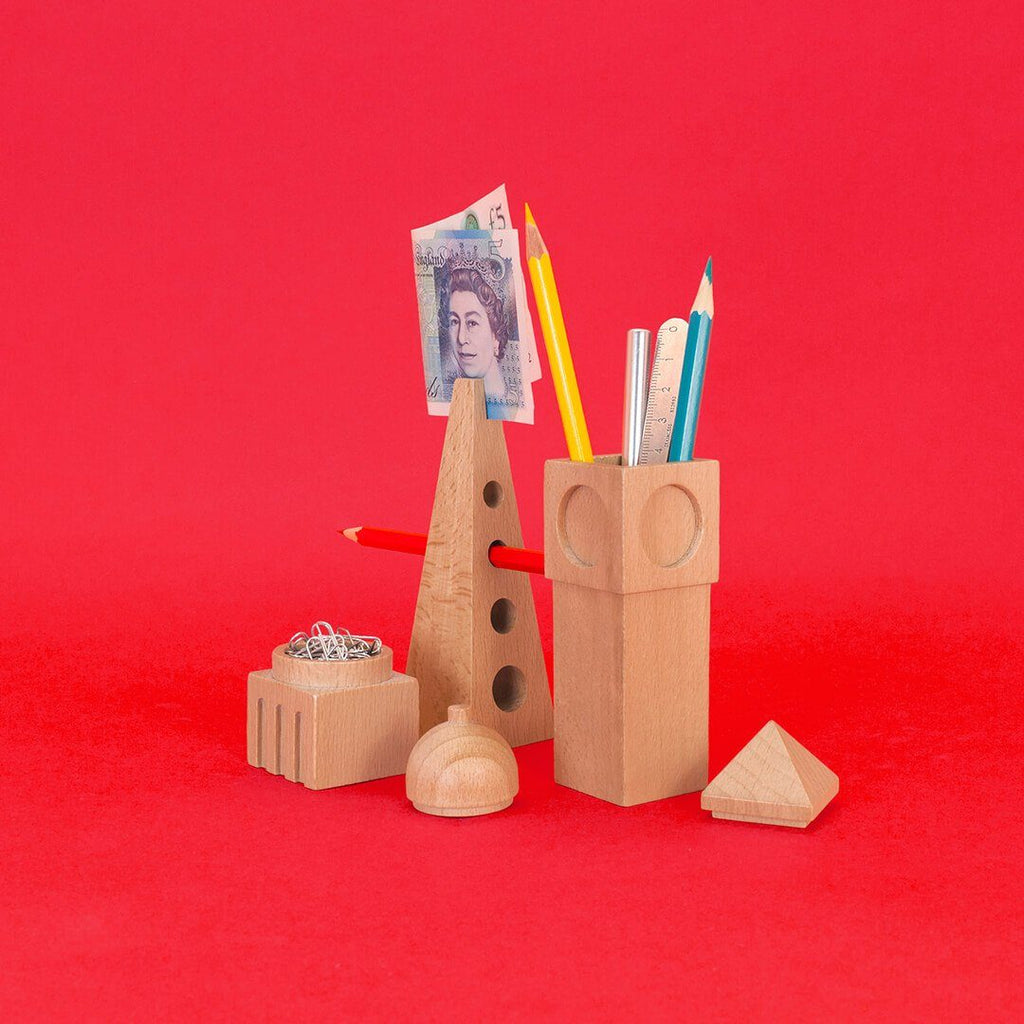 Wooden City Desk Tidy Stationery Holder