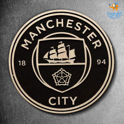 Manchester City Engraved Wooden Crest