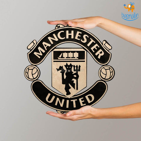 Manchester United Engraved Wooden Crest Bigsmall In