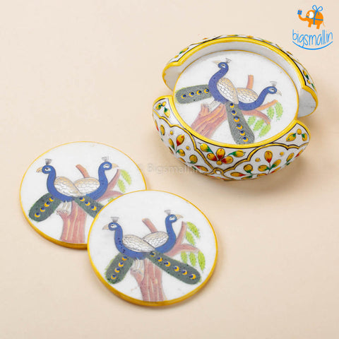 Hand-Painted Marble Peacock Coasters - Set of 6