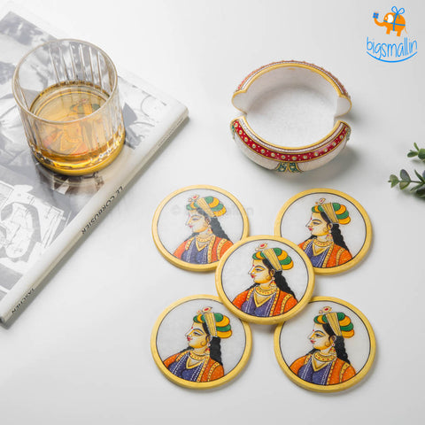 Hand-Painted Marble Queen Coasters - Set of 6
