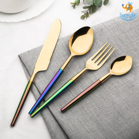 Holographic Golden Metallic Cutlery Set - bigsmall.in