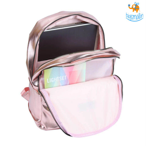 Metallic Pink Casual Backpack