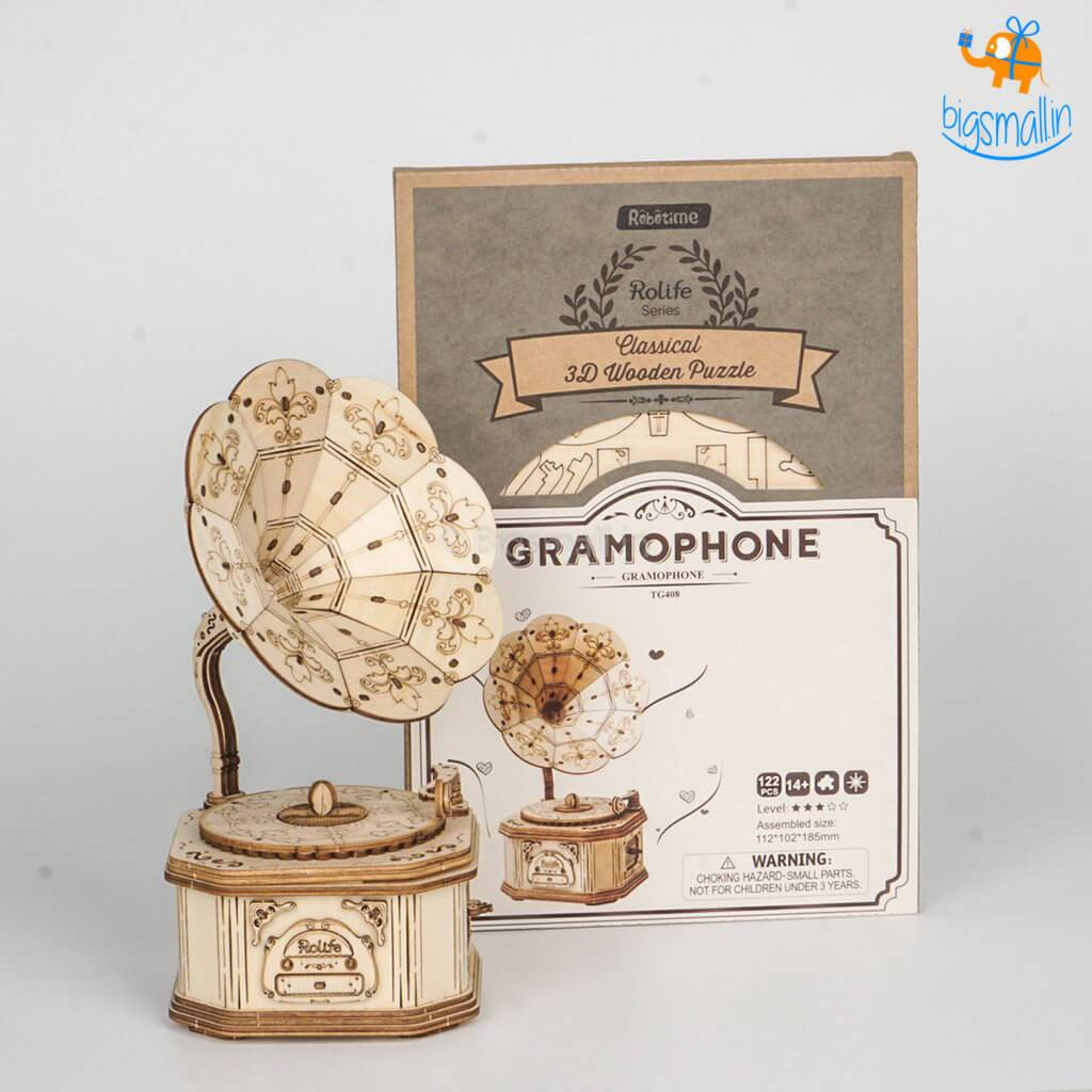 3D Wooden Puzzle - Gramophone - bigsmall.in