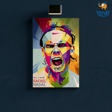 Rafael Nadal Printed Wooden Frame ( 17.6 x 11.6 inches) - bigsmall.in