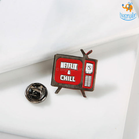 Netflix & Chill Metallic Lapel Pin - bigsmall.in