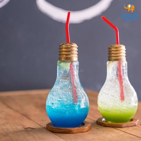 Bulb Shaped Glass with Straw - bigsmall.in