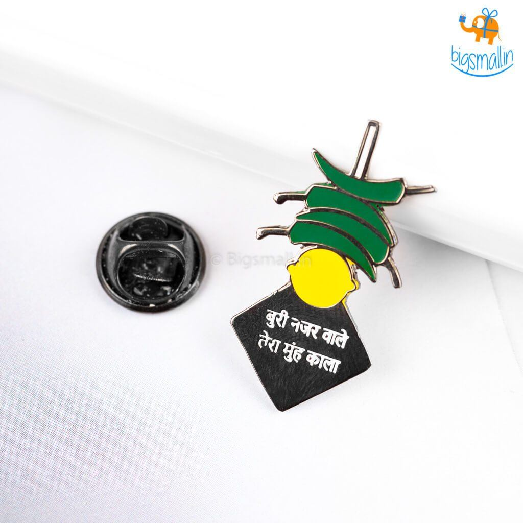 Nimbu Mirchi Metallic Lapel Pin - bigsmall.in