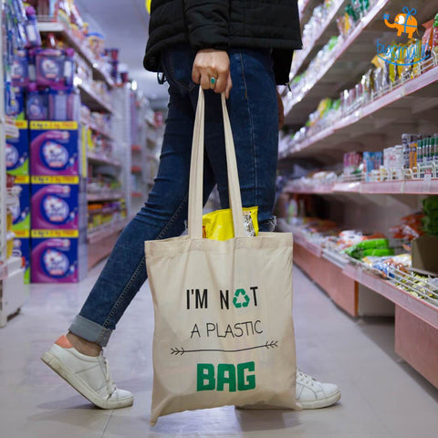 I'm Not a Plastic Tote Bag - Set of 2 - bigsmall.in