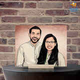 Personalized Caricature Wooden Portrait | COD Not Available