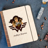 Personalized Wonder Woman Theme Wooden Binder Diary | COD Not Available