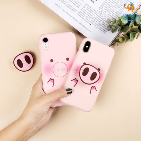 Piggy Phone Iphone Cover with Pop Socket - bigsmall.in