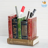 Retro Book Resin Stationery Holder - Hand painted - bigsmall.in