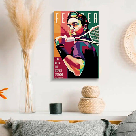 Roger Federer Wooden Wall Art - bigsmall.in