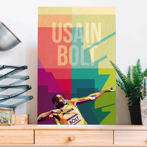 Usain Bolt Wooden Wall Art - bigsmall.in